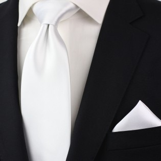Solid White Pocket Square Styled