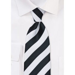 XL Black and White Striped Tie
