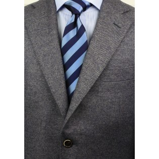 Classic Striped XL Length Tie in Blue Styled