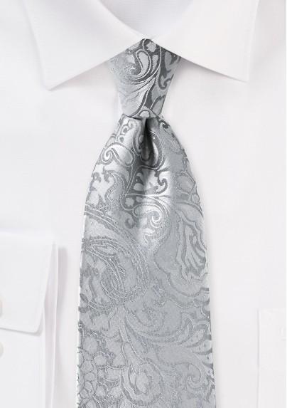 Silver Paisley Mens Tie