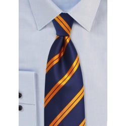 Modern Striped Tie in Navy and Orange