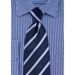 XL Tie in Navy and Light Blue Stripe