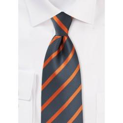 Orange and Gray Striped Tie