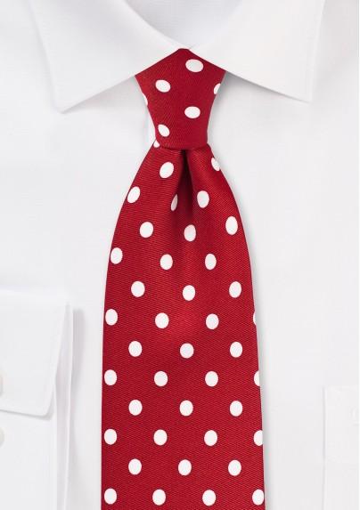 Polka Dot Tie in Tomato Red and White