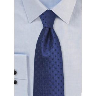 Dark Blue Necktie with Navy Polka Dots