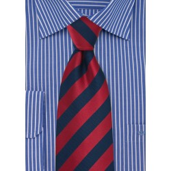 Navy and Cherry Striped Tie