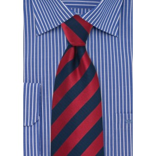 Navy and Cherry Striped Tie in XL Length
