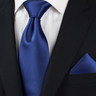 Solid Satin Necktie in Royal Blue Styled
