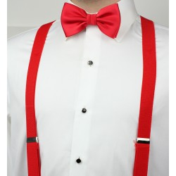 Pre-Tied Men's Bow Tie in Bright Red Styled