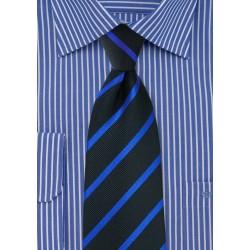 Black XL Tie with Horizon Blue Stripes