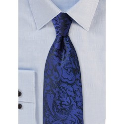 Mens Paisley Tie in Royal Blue