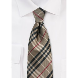 Golden Tan Tartan Plaid Necktie