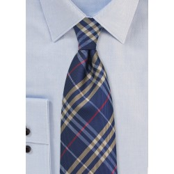 Tartan Plaid Tie in Blue, Gold, and Red