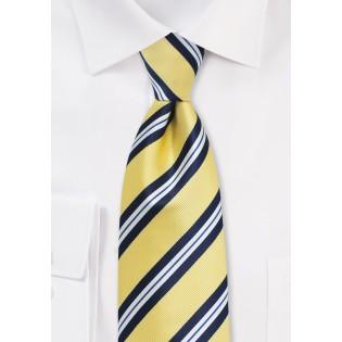Yellow, Navy, and White Striped Necktie