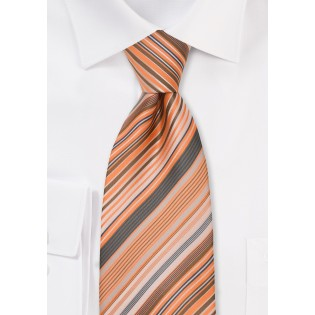 XL Striped Tie in Coral Orange