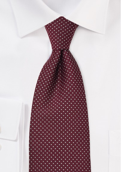 Cardinal Red Mens Tie With Fine Polka Dots