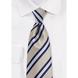 Beige and Navy Striped Tie