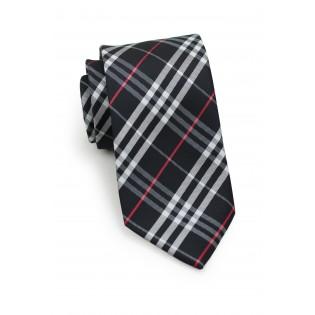 Trendy Black Tartan Plaid Tie for Kids