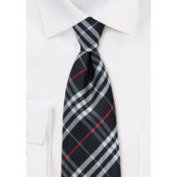 Jet Black Tartan Plaid Tie in XL