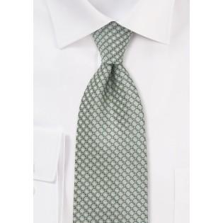 Diamond Pattern XL Length Tie in Mint Green
