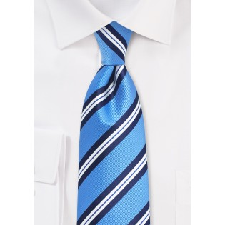 Repp Striped Summer Tie for Kids in Light Blue