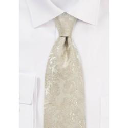 Golden Champagne Wedding Silk Tie in XL