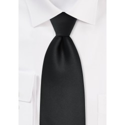 Men's XL Length Tie in Solid Black