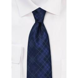 Dark Navy Plaid Tie