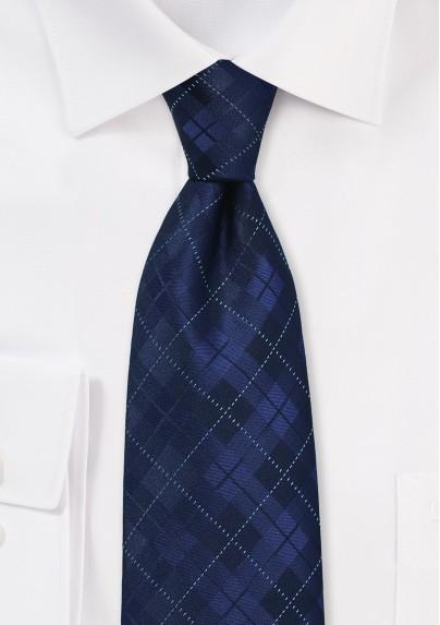 XL Tie in Navy with Plaid Design