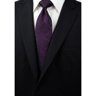 Plum Paisley Tie in XL Length Styled