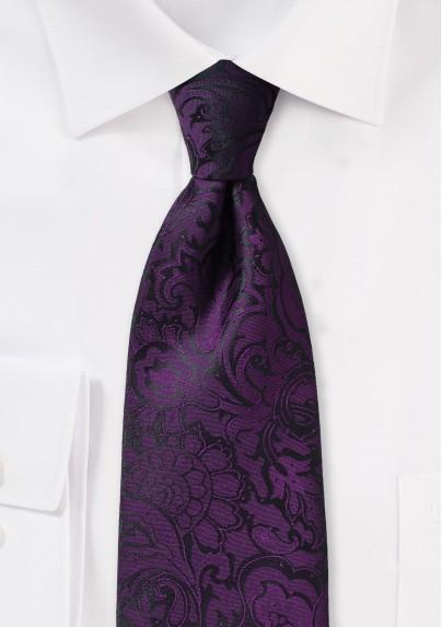 Kids Paisley Tie in Plum Purple
