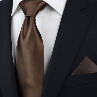 Solid color ties - Coffe brown necktie styled