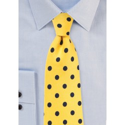 Bright Yellow and Navy Polka Dot Necktie