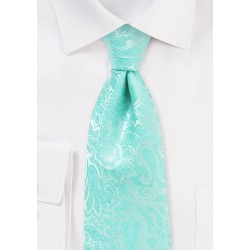 Glacier Blue Tie with Paisleys in XL Length