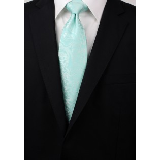 Glacier Blue Tie with Paisleys in XL Length Styled