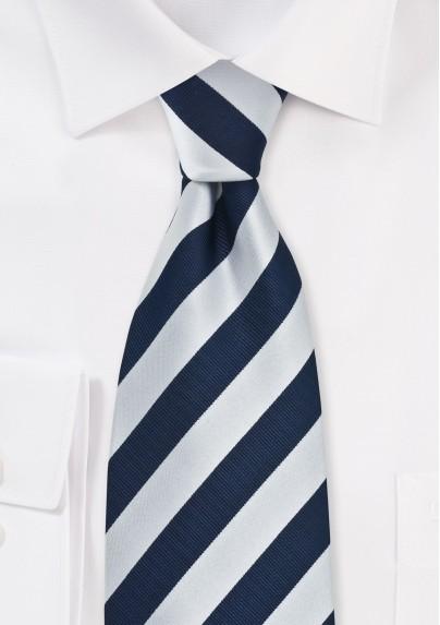 Navy and Silver Mens Necktie