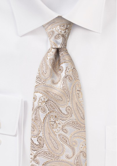 Festive Paisley Silk Tie in Gold Champagne