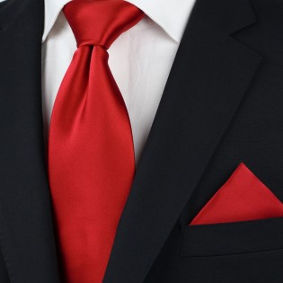 Extra long ties - Bright red XL necktie styled