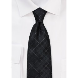 Charcoal and Black Plaid Tie in XL