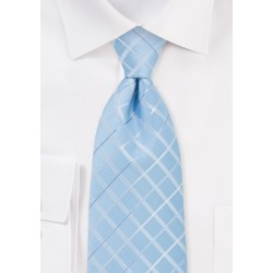 Light Blue Check Patterned Necktie