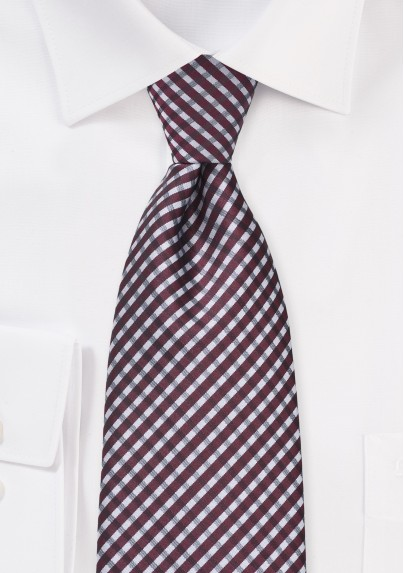 Micro Plaid Tie in Burgundy and Grey