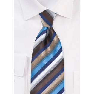 Blue and Brown Striped Tie