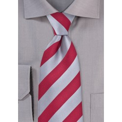 Red and Gray Striped Tie