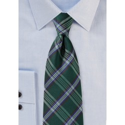Tartan Plaid Tie in XL Length