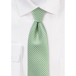 Sage Green Necktie with Mini Dots