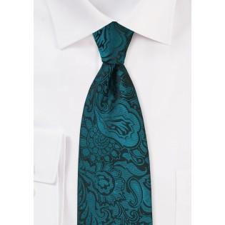 Kids Size Paisley Tie in Peacock Teal