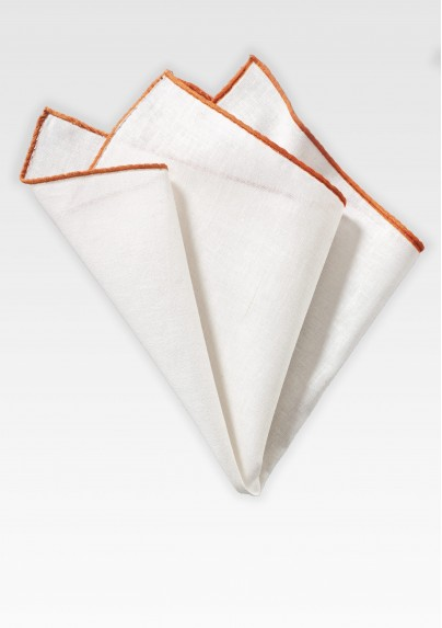 White Linen Hanky with Burnt Orange Border