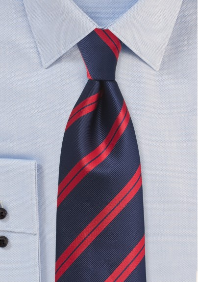 Contemporary Repp Tie in Navy and Red