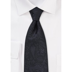 Extra Long Paisley Tie in Jet Black