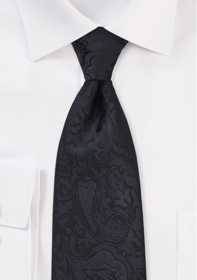 Extra Long Paisley Tie in Jet Black